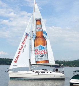 Sailboat advertising in Canada for Coors Light